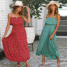 цена на Bohemia style Ladies Summer Beach Party Dress Ladies Off Shoulder Sweety Floral Print Long Maxi Dresses