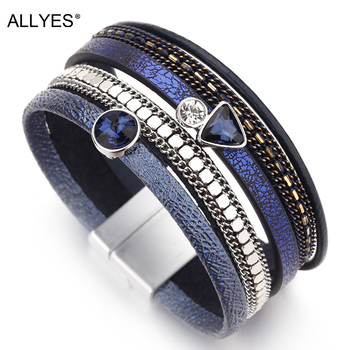 ALLYES Resin Crystal Charm Leather Bracelet for Women 2020 Bohemian Multilayer Bracelets & Bangles Summer Female Jewelry allyes tree of life charm pearl leather bracelets for women fashion ladies bohemian multilayer wide wrap bracelet female jewelry
