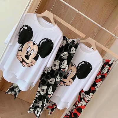 Disney Pijama De Algodon Con Dibujos Animados De Mickey Mouse Para Mujer Ropa De Casa Pantalones De Manga Corta Verano Sets De Pijamas Aliexpress