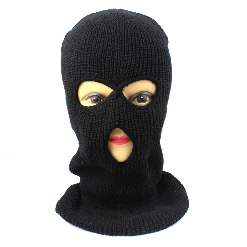 Full Face Cover 3 Holes Knit Hat Winter Stretch Snow Mask Beanie Hat Cap Windproof Warm Breathable Masks For Riding Cycling