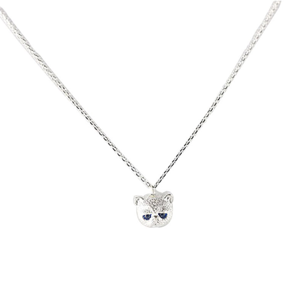 ZEMIOR Genuine Sterling Silver 925 Jewelry Cute Cat Animal Pendant Necklace For Women Girls Simple Blue Zircon Choker Necklaces