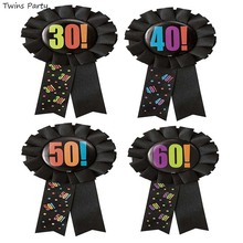 Twins Party Happy 30 40 50 60th Birthday Award Ribbon Rosette Badge Brooch Pin Supplier Decoration