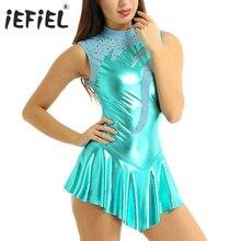 Robe de patinage métallique métallique brillante, robe pour adultes, trou de serrure, dos salle de bal, compétition de danse, gymnastique, justaucorps