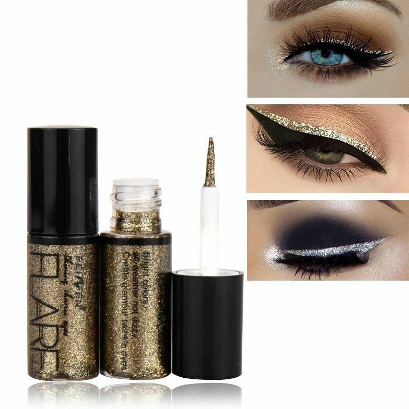 Color Eyeliner Long Lasting Waterproof Lady Pigment Silver Rose Gold Liquid Glitter Eyeliner Professional Cosmetics