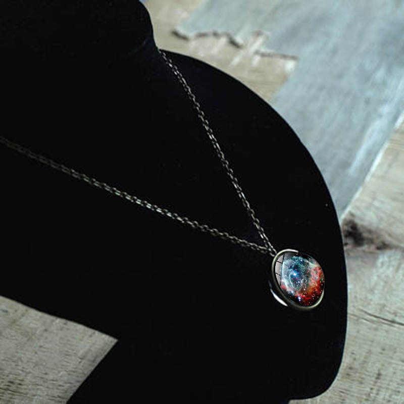 Mới Tinh Vân Galaxy Đôi Mặt Dây Chuyền Vòng Cổ Vũ Trụ Hành Tinh Trang Sức Kính Cabochon Tay Dài Vòng Đeo Cổ cho Nữ 2019