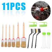 Mayitr 11pcs Round Shape Car Interior Detailing Brush Kit Natural Boar Hair Air Conditioner Wire Brushes FOR Cleaning Tools