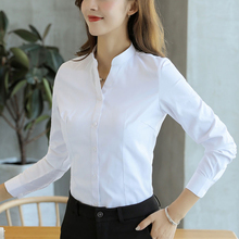 Women Shirts Elegant Woman Cotton White Shirt Plus Size Korean Fashion Long Sleeve V-Neck Blouse OL 5XL