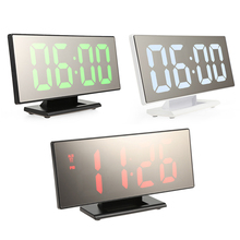 Digital Alarm Clock Big LED Screen Mirror Mute Time Display Desk Table Timepiece Snooze Makeup