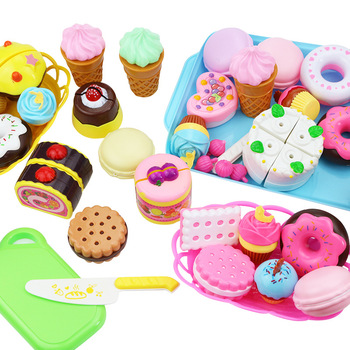 37-80PCS DIY Cake Toy Kitchen Food Pretend Play Cutting Fruit Birthday Toys Cocina De Juguete Pink Blue For Kid Educational Gift 38 80pcs diy pretend play fruit cutting birthday cake kitchen food toys cocina de juguete toy children girls christmas gift toys