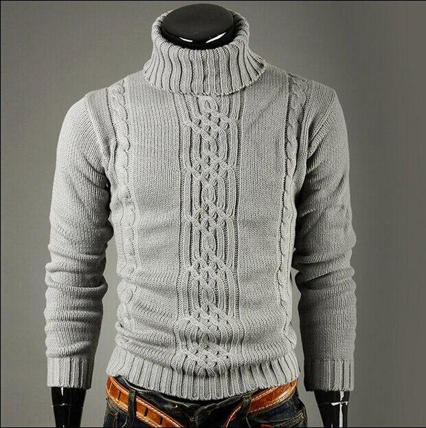 Men's Sweater High Lapel Pullover Jacquard Sweater Men's Linen Turtle Neck Sweater Men Clothes 2018Autumn Winter Fashion Clothes