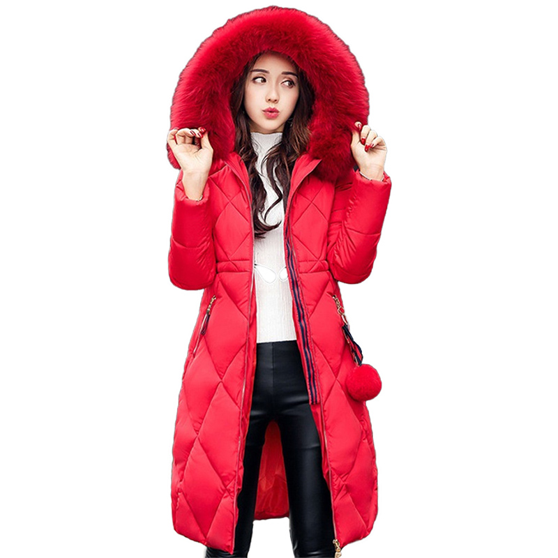 2019 New Cotton-padded jacket Women   Parka   Winter Long Outerwear Female Hooded Big fur collar Winter Cotton   Parkas   Plus size 2982
