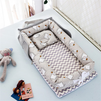 Baby Nest Bed Portable Crib Travel Bed Infant Toddler Cotton Cradle for Newborn Baby Bed Bassinet Bumper 90x50cm portable baby nursing sleeping nest bed breathable cotton shaping mat baby bionic bed for infants toddlers crib bumper