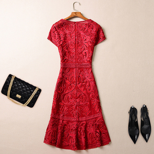 Image 3 - AELESEEN 4XL Plus Size Dresses Women Spring Summer Luxury Vintage Jacquard Hollow Out Floral Embroidery Elegant Party Dress