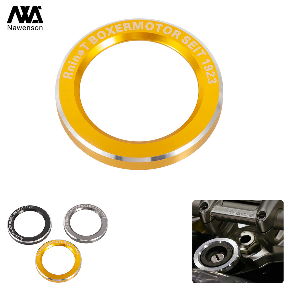 CNC Aluminum Motorcycle Ignition Starter Lock Cover Key Ignition Surround Ring For BMW R Nine T R9T 2014-2019 2018 2017 <font><b>2016</b></font> image