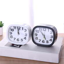 Square Round Small Alarm Clock Snooze Silent Sweeping Wake Up Table Clock Battery Powered Compact Portable Travel Alarm Clock