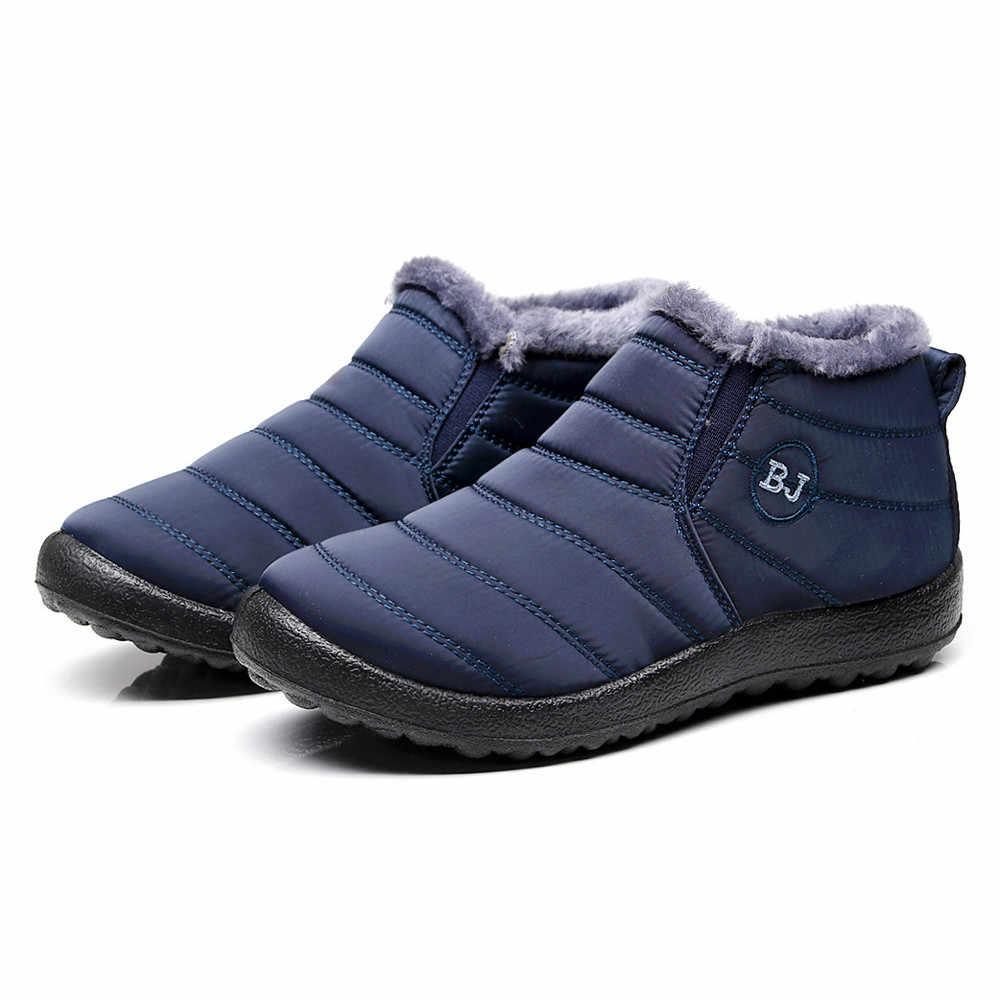 SAGACE Laarzen Mannen Winter Schoenen Mannen Effen Kleur Warm Houden Enkel Laarzen Plus Fluwelen Boot Platte Snowboots
