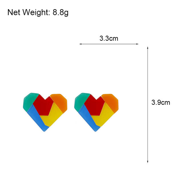Lifefontier Korean Rainbow Color Stitching Resin Love Heart Earrings For Women Simple Candy Geometric Earrings Party.jpg 640x640 - Lifefontier Korean Rainbow Color Stitching Resin Love Heart Earrings For Women Simple Candy Geometric Earrings Party Jewelry