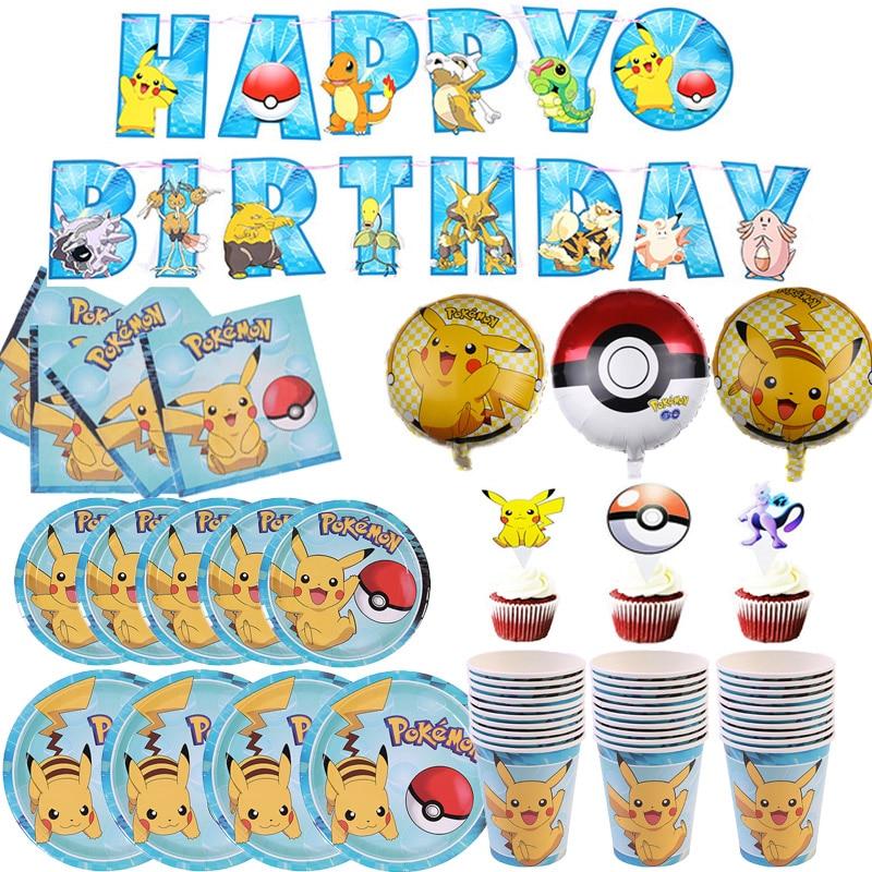Мультяшный Покемон, одноразовые украшения для дня рождения, набор посуды для вечеринки, бумажные чашки, бумажные тарелки, товары для детско...