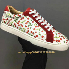 Leather Cherry Print Unisex Sneakers 2019 New Low Top unique Couple Flats