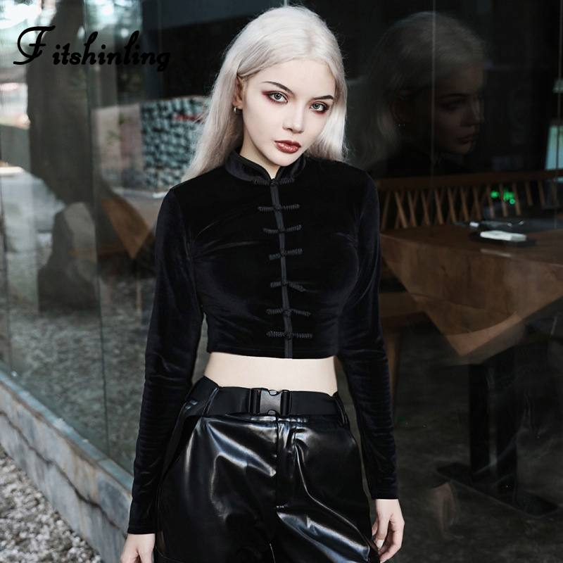 Fitshinling Buttons Vintage Gothic Velvet T Shirts For Women Crop Top Goth Dark Black Chinese Long Sleeve Female T Shirt 2019 in T Shirts from Women 39 s Clothing