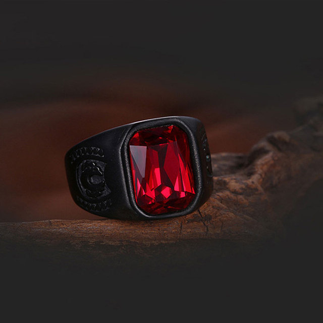 Red Black Geometry Stone Ring 4