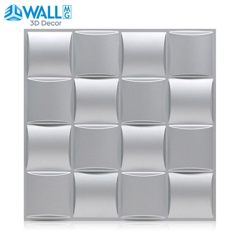 4pcs/lot 30x30cm 3D Wall Sticker Art Wallboard Geometric Cut Diamond Wood Carved Wall Sticker Background Decor Board House Decor