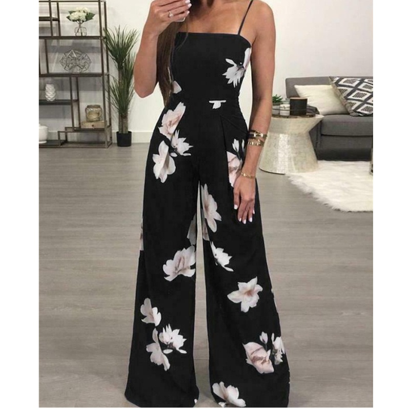 2019 Women Super Comfy Floral Dungarees Jumpsuit Fashion Trend Sling Print Wide Leg Loose Long Pant Trousers Overalls