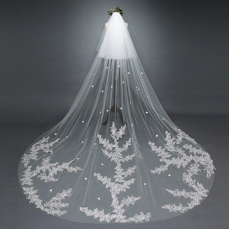 Элегантная аппликация двухслойный Свадебные аксессуары; Фата Hot8 с новым узором, длинное платье для свадьбы, верхний край декорирован круже