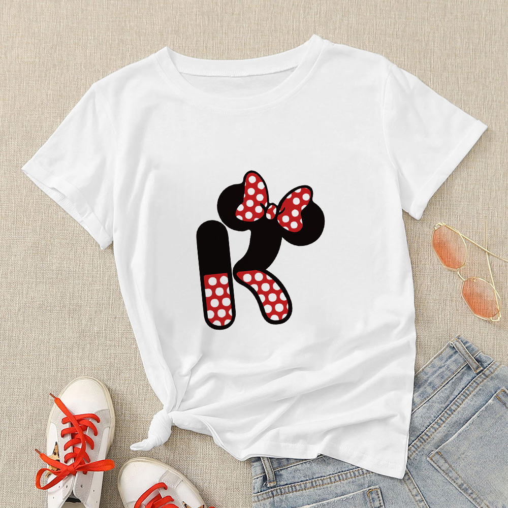 Disney Aesthetic Women Modern T Shirt Creative Oversize T-shirt Streetwear Mickey Letter H Graphic Short Sleeve Casual Tshirt 5