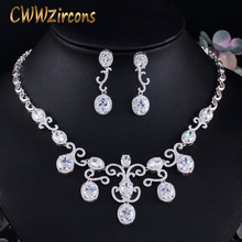 CWWZircons Shiny White Dangle Drop Africa Nigerian Cubic Zircon Women Party Necklace Earring Jewelry Set for Brides Wedding T464