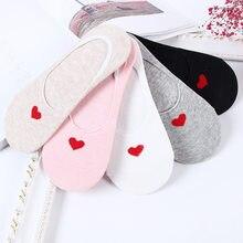 Meias curtas de barco, 10 peças = 5 pares meias femininas de algodão, sem show, antiderrapantes, meias tornozelo para mulheres pantufas de coração macias invisíveis
