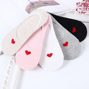 10 pieces=5 pairs Women Sock Cotton No Show Non-Slip Short Boat Socks Ankle Low Female Womens Invisible Soft Heart Slippers