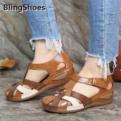 2021 New Summer shoes Women Sandals Round Head Wedges Sandals Plus Size Casual Women Non-slip Sandals Gladiator female Shoes