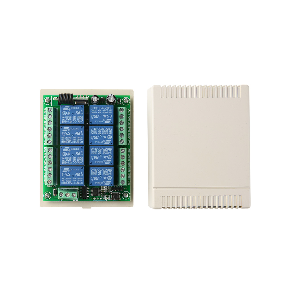DC12V 8CH Wireless Smart Home Remote Control Switch receiver Relay Module Controller TX 8 Buttons 433MHz RF Transmitter 6