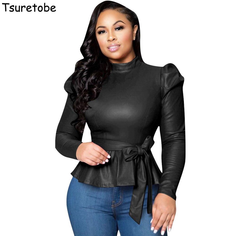 Tsuretobe Skinny Leather T Shirt Women Bandage Ruffle Tops Bow Tie Elegant Turtleneck Long Sleeve Party Tee Tops Slim Female on AliExpress