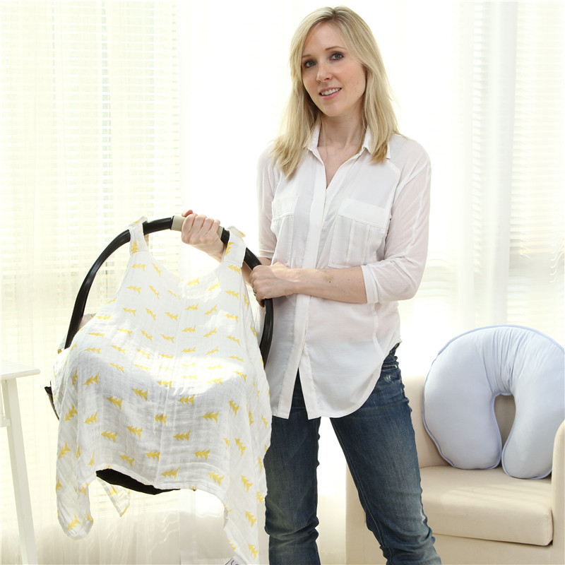 3in1 Breastfeeding Nursing Cover Baby Stroller Cover Scarf Multifunctional Infant Car Seat Canopy Sunscreen Shopping Cart Cover