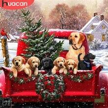 HUACAN алмазная мазайка собаки вышивка крестиком алмазная вышивка животные рукоделие картины стразами полная выкладк Рождественский подарок