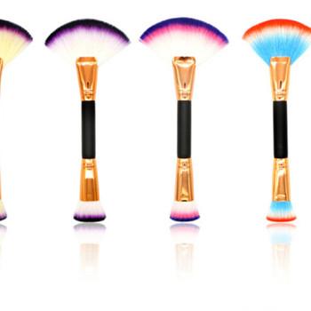 1Pc podwójnie zakończone pędzle do makijażu praktyczne szczotka w kształcie wachlarza + płaska szczoteczka wielofunkcyjne kosmetyki narzędzie dla kobiet makijaż twarzy tanie i dobre opinie Linmei Jedna jednostka CN (pochodzenie) Włókno wełniane 760800 21 5cm podkład POWDER pędzel do rozjaśniania Drewna