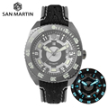 San Martin Diver Mechanical Men Watch Swiss ETA 2836 Titanium Grade 5 Sapphire Crystal Shark Leather Luminous Limited Edition