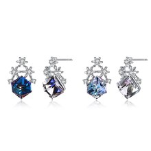 New S925 sterling silver snowflake square blue crystal earrings Fashion cool star diamond