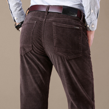 2020 New Men's Corduroy Casual Pants Business Fashion Solid Color Elastic Regular Fit Trousers Male Black Khaki Coffee Navy 1