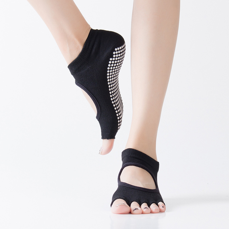 Girls Five Finger Toes Socks Backless Silicone Anti-Slip Ankle Grip Sox Dots Yoga Dancing Pilates Fitness Gym Ladies Sport Socks