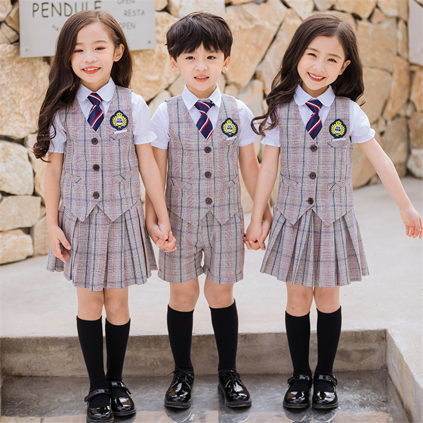 Japanese School Uniform For Girls Boy Plaid Vest+shirts+skirts/pants Suit Kids Costume British Style Korean Student Children