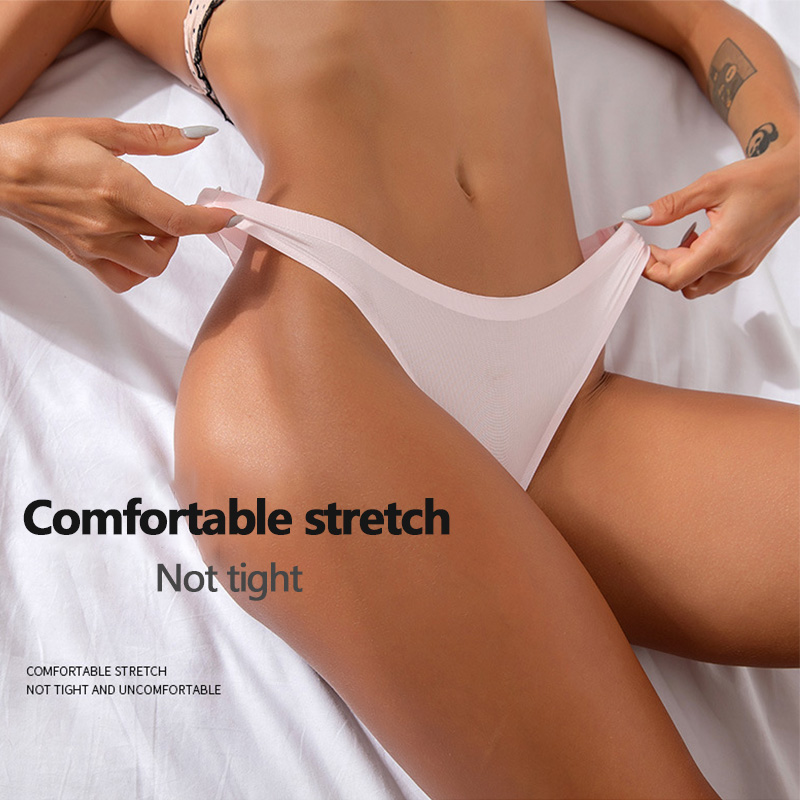 Hot Silk Sexy Thongs Seamless Ice Silk Solid Color G-string Low-Rise Lingerie Panty Intimates Summer Female Panties Underwear