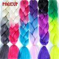 Волосы для плетения Омбре Pageup, шиньоны из синтетических волос Джамбо 24 дюйма