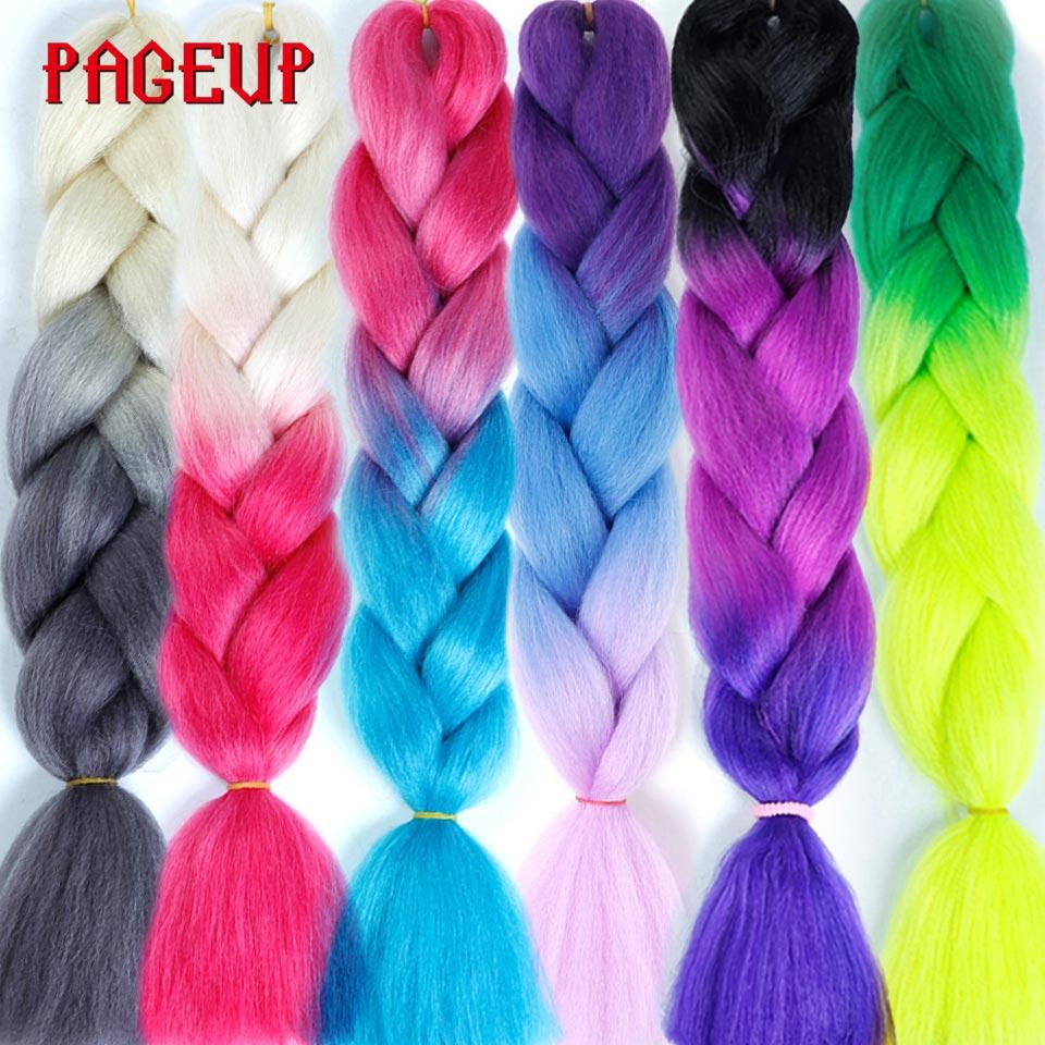 Pageup extensão de cabelo, 24 polegadas ombre extensão de cabelo sintético crochê trança jumbo sintético falsos expressão cabelo