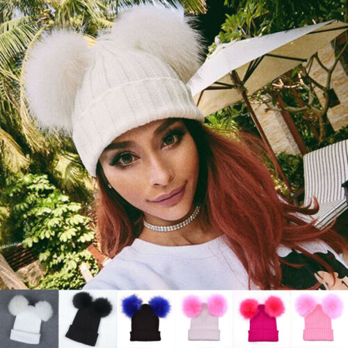 New Fashion Ladies Girls Winter Outdoor Women's Warm Chunky Knit With Double Fur Cute Beanie Hats