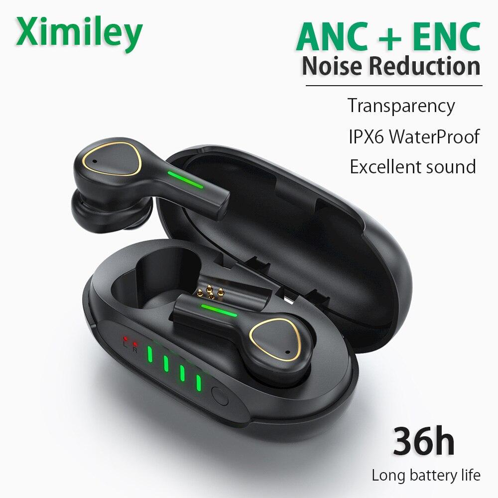 Ximiley XS9 TWS Hybrid ANC + ENC Wireless Earphones Active Noise Cancel Bluetooth Earbuds HD MIC Super Bass IPX6 Waterproof