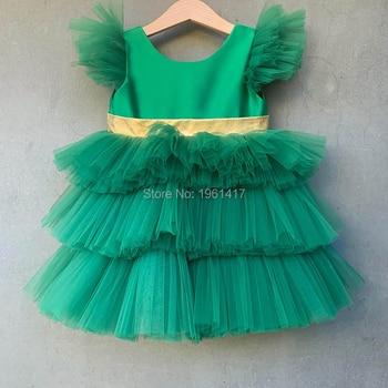 Little Flower Girls Dresses for Girls V back Satin Pageant Gowns Bow Baby Toddler Communion Dresses AG0128