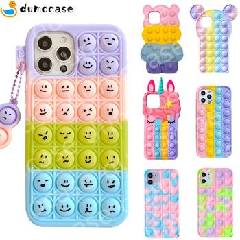 Push Bubble relief Stress Case dla iPhone 11 12 Mini Pro XS Max Xr X 6s 7 8 Plus silikonowe miękkie Pop Fidget zabawki Rainbow okładka tanie i dobre opinie APPLE CN (pochodzenie) Częściowo przysłonięte etui Bubble Phone Case Soft Silicone Relieves Stress Toys Anxiety Push